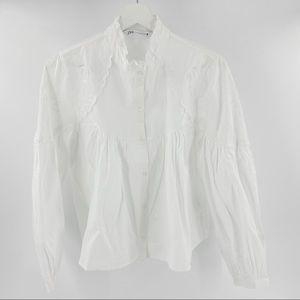 Zara white ruffle embroidered cotton blouse